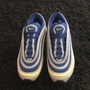 Men's blue yellow and grey air max 97s